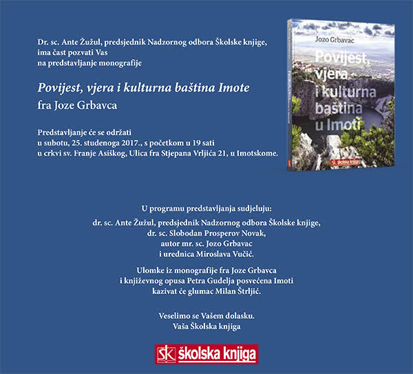 Predstavljanje nove knjige fra Josipa Grbavca u Imotskom