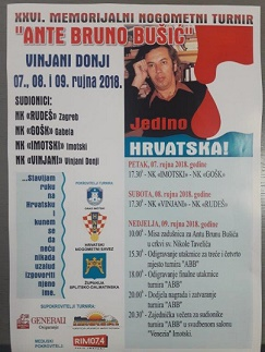 "Danas počinje 26. Memorijalni nogometni turnir ""Ante Bruno Bušić"""
