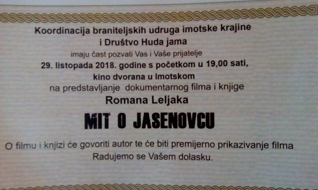 """Roman Leljak večeras u Imotskom predstavlja knjigu i film """"Mit o Jasenovcu"""""""