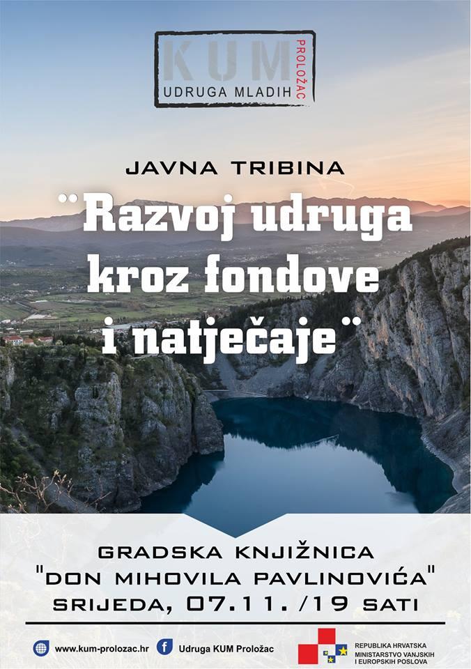 """Javna tribina na temu """"Razvoj udruga kroz fondove i natječaje""""."""