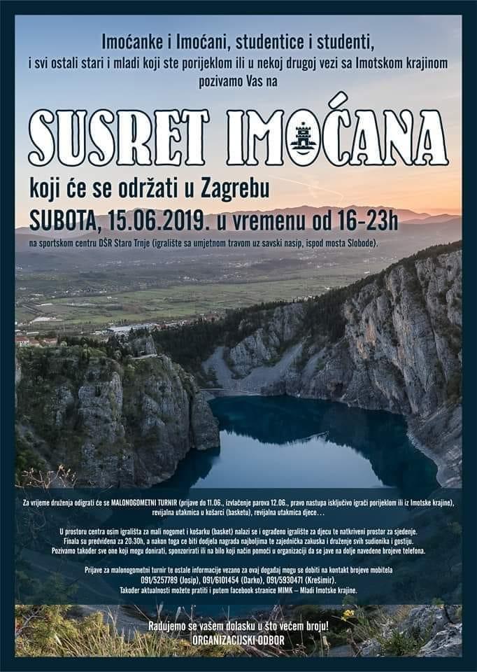 """U subotu """"Susret Imoćana"""" u Zagrebu"""
