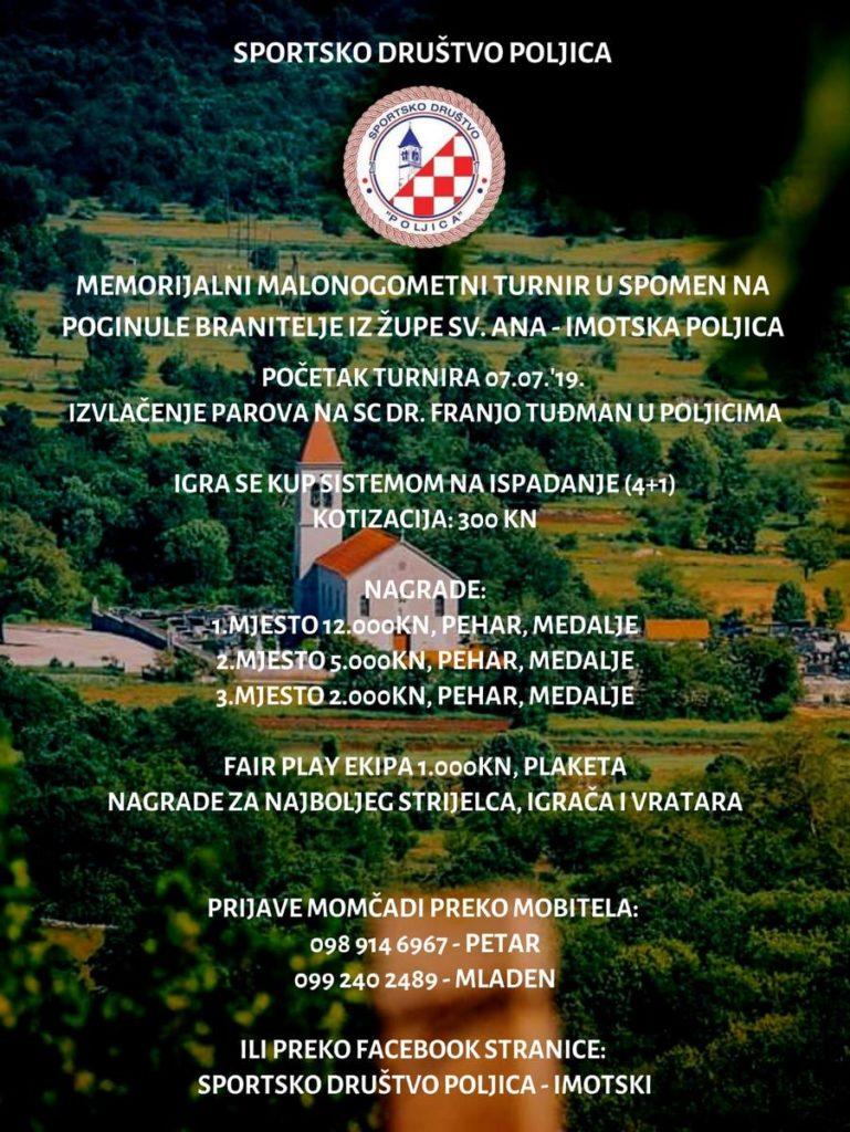 Memorijalni malonogometni turnir u spomen na poginule branitelje iz župe Sv. Ane – Imotska Poljica
