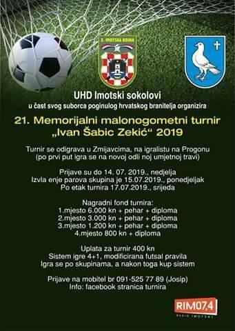 """21. Memorijalni malonogometni turnir """"Ivan Šabić Zekić"""" 2019."""