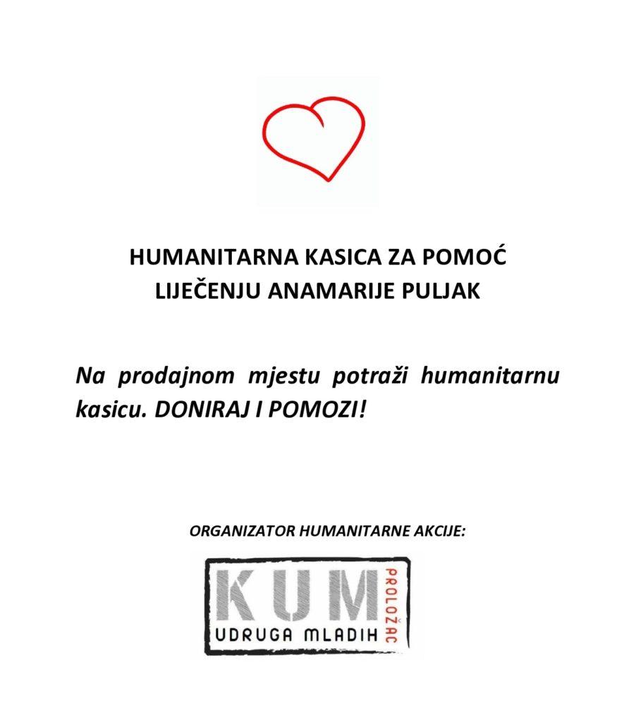 KUM Proložac pokreće humanitarnu kasicu za Anamariju Puljak