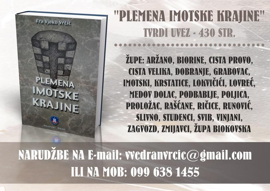 """U prodaji knjiga """"Plemena Imotske krajine"""""""