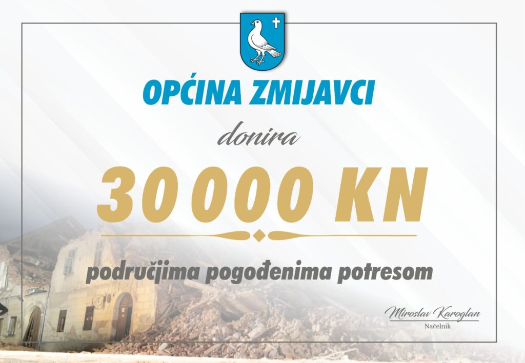 Općina Zmijavci donirala 30 tisuća kuna za potresom razorena područja