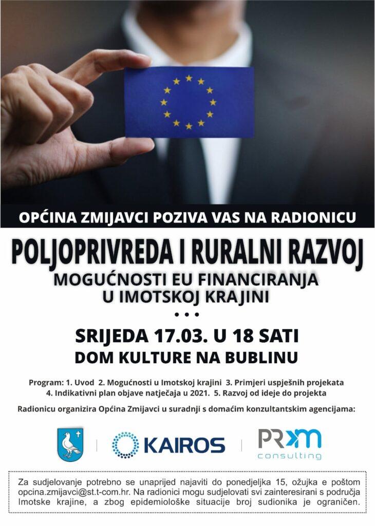 """Radionica """"Poljoprivreda i ruralni razvoj: Mogućnosti EU financiranja u Imotskoj krajini"""""""