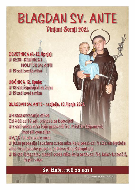 Raspored bogoslužja na blagdan sv. Ante u župi sv. Roka u Vinjanima