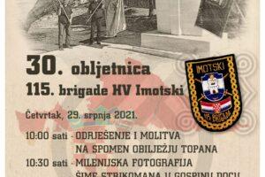 Obilježavanje 30. godišnjice osnutka 115. Imotske brigade HV – Imotski