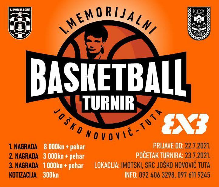 """Pogledajte raspored utakmica za 1. Memorijalni košarkaški turnir """"Joško Novović Tuta"""" u Imotskom"""