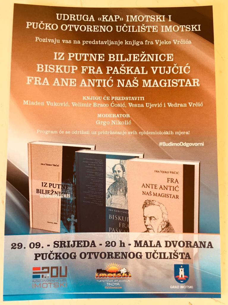 Predstavljanje 8 knjiga fra Vjeko Vrčića u Pučkom otvorenom učilištu Imotski